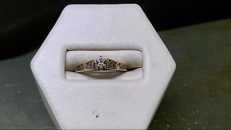 Lady's Diamond Engagement Ring .03 CT. 10K Yellow Gold 1.5g Size:5
