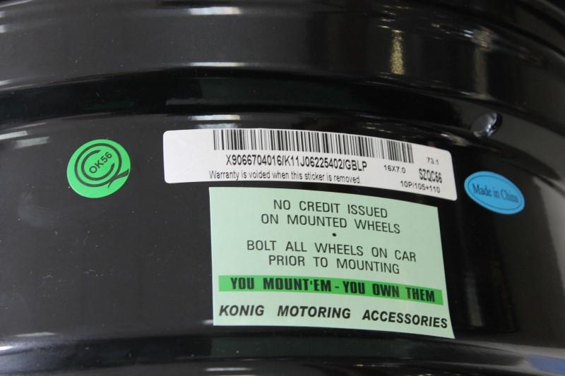16x7 Vline Wheels Model V812 Glossy Black Lip 4.25 Bolt Set of 4