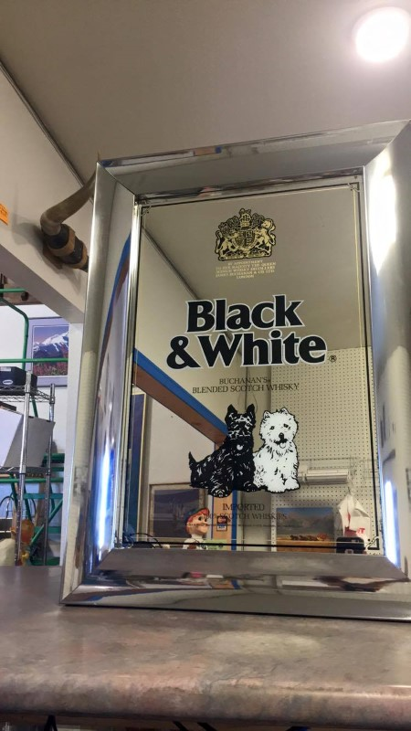 BLACK AND WHITE SCOTCH Sign MIRROR