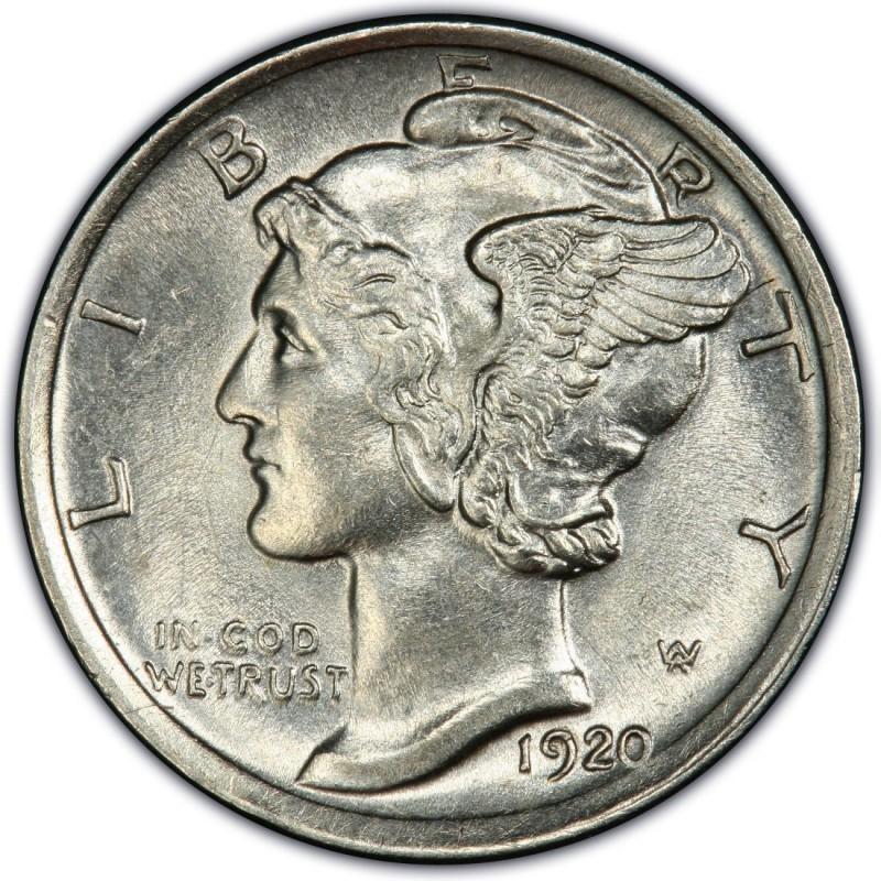 UNITED STATES Silver Coin 1920 MERCURY DIME