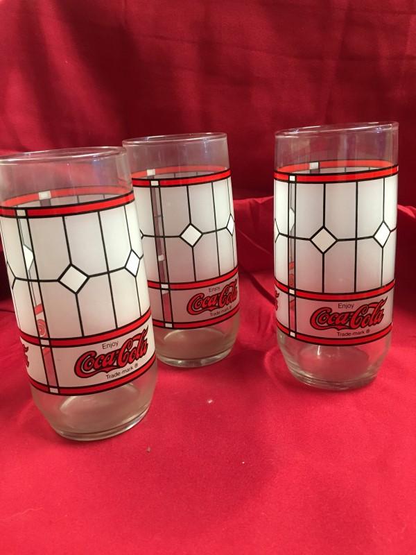 COCA COLA Glassware STAINED GLASSES