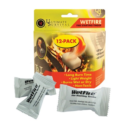 ULTIMATE SURVIVAL Outdoor Sports WETFIRE FIRE STARTING TINDER 12 PACK