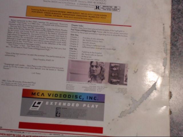 MCA HOME VIDEO Laser Disk FAST TIMES AT RIDGEMONT HIGH LASER DISC