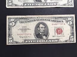 UNITED STATES Paper Money - World RED SEAL $5 1963