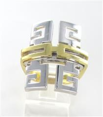 14K SOLID YELLOW & WHITE GOLD RING GREEK KEY COCKTAIL MADE IN ITALY