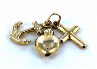10KT YELLOW GOLD HEART ANCHOR CROSS CHARM PENDANT LOVE FAITH GROUNDING