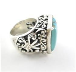BARSE DESIGNER SILVER ESTATE TURQUOISE RING BAND SZ 6