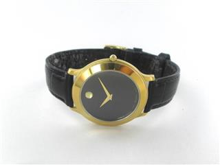 MOVADO GENTS STAINLESS STEEL GOLD TONE SWISS MADE LEATHER BAND