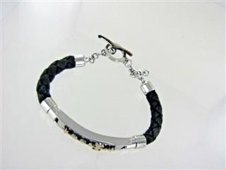 18KT & STAINLESS STEEL/ BLACK CORD BRACELET WITH CROSS