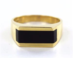 14KT SOLID YELLOW GOLD BLACK ONYX SIZE 9 RING PROTECTION