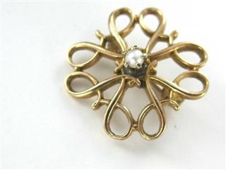 10KT YELLOW GOLD PIN BROOCH VINTAGE CHRISTMAS SEED PEARl