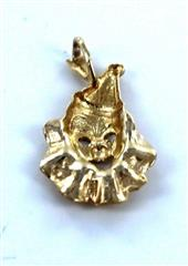 14KT SOLID YELLOW GOLD CIRCUS CLOWN CHARM PENDANT
