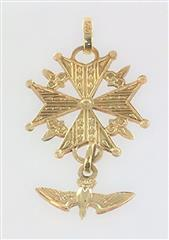 14KT YELLOW GOLD KNIGHTS OF COLOMBUS SPIRITUAL RELIGIOUS DOVE PENDANT