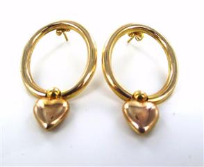 14KT YELLOW GOLD DANGLING HEART VALENTINE LOVE HOOP EARRINGS