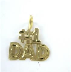 14K YELLOW GOLD PENDANT #1 DAD FATHER'S DAY SIGNED DESIGNER CHARM MEN