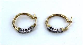 10KT SOLID YELLOW GOLD 12 DIAMONDS HOOP EARRINGS CLARITY CONFIDENCE EMPOWERMENT