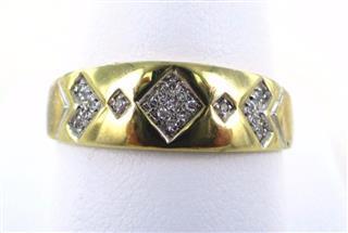 10KT SOLID YELLOW GOLD 21 DIAMONDS WEDDING BAND SZ 11 RING