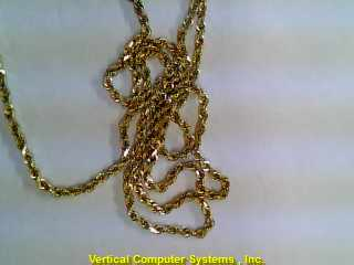 ROPE-SOLID Gold Rope Chain 14K Yellow Gold 3.3dwt