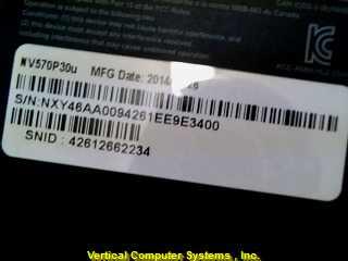 NV570P30U COMPUTER-LAPTOP GATEWAY  PW: SUNSHINE SLATE_GREY