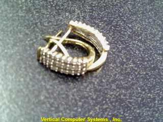 EARRINGS L'S 10KT  X2 22 STONES CLR STONE EACH 1.00/YG