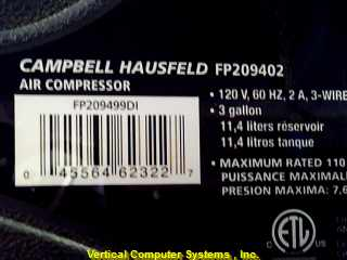 CAMPBELL HAUSFIELD Air Compressor FP209402