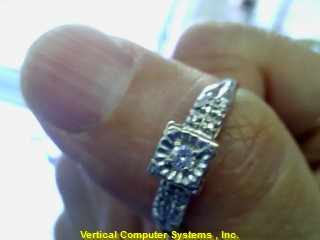 DIAMOND  SOLITAIRE RING L'S 14KT DIAMOND VINTAGE SWEET HEART 1930 WEDDING RING 1