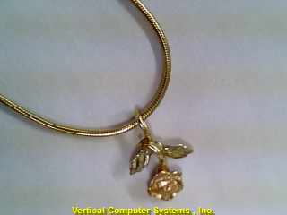 SNAKE_LNK,_ROSE_CHARM CHAIN AND PENDANT 14 KT  PW2319 4.6/YG