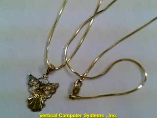 SNAKE_LK,_ANGEL_CHRM CHAIN AND PENDANT 10 KT  PW2586 2.5/YG