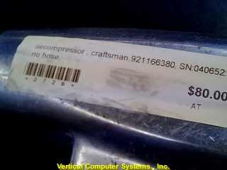 875199820 AIR COMPRESSOR (GAS) CRAFTSMAN  NO HOSE, ID#2726 CHROME