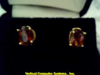 STUD  EARRINGS L'S 14KT STUD PW39B1 HANDMADE EARRING, GARNETT .7/YG