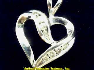 HEART  CHARM 10KT HEART 8 CLEAR STONES PW#4497 1.4/WG