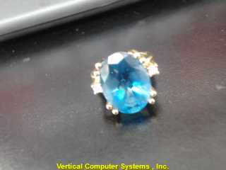 L'S 14KT Blue Stone Lady's Stone Ring BLUE STONE(S) 14K Yellow Gold 5.4dwt