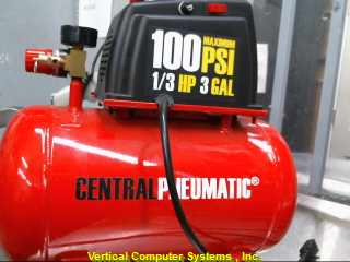 CENTRAL_PNEUMATIC 100PSI_1/3HP_3GAL AIR COMPRESSOR (ELEC.)    RED/BLACK