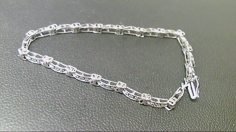 Gold-Diamond Bracelet 18 Diamonds .18 Carat T.W. 10K White Gold 6.8g