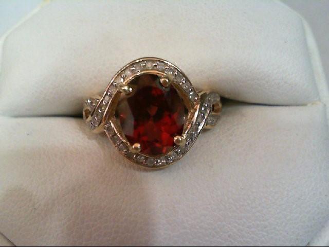 Almandite Garnet Lady's Stone & Diamond Ring 40 Diamonds .200 Carat T.W.