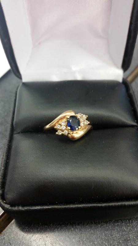 Blue Stone Lady's Stone & Diamond Ring 10 Diamonds .10 Carat T.W.