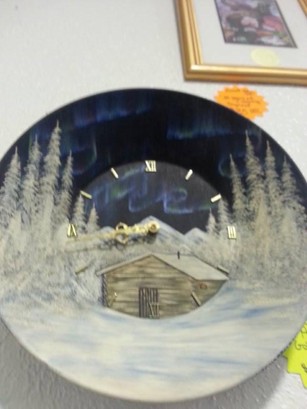 AURORA GOLD PAN CLOCK BY JUDY HARTMAN