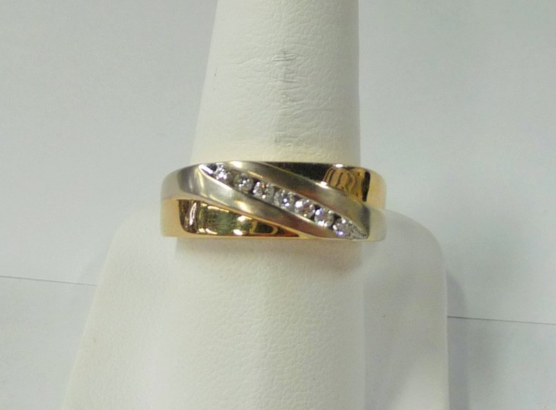 Gent's Gold-Diamond Wedding Band 7 Diamonds .21 Carat T.W. 14K 2 Tone Gold