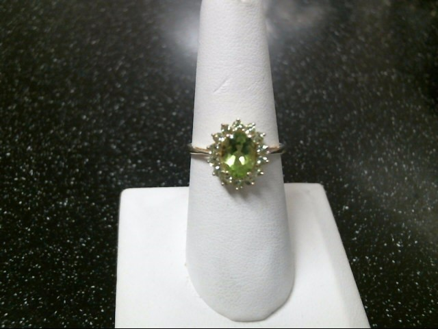 Green Stone Lady's Stone Ring 10K Yellow Gold 2.3g Size:7.5