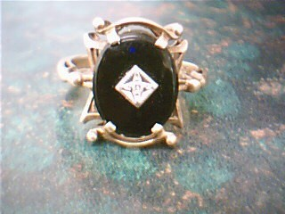 Black Stone Lady's Stone Ring 10K Yellow Gold 3g Size:8