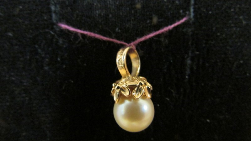 Synthetic Pearl Gold-Stone Pendant 14K Yellow Gold 1.8g