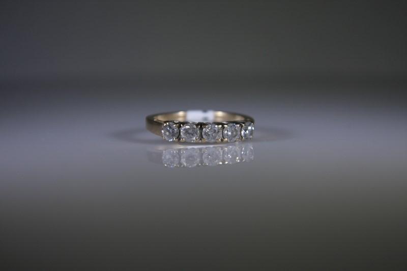Lady's Gold-Diamond Anniversary Ring 5 Diamonds .75 Carat T.W. 14K Yellow Gold