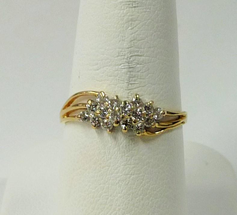 Lady's Diamond Cluster Ring 16 Diamonds .48 Carat T.W. 10K Yellow Gold 0.98dwt