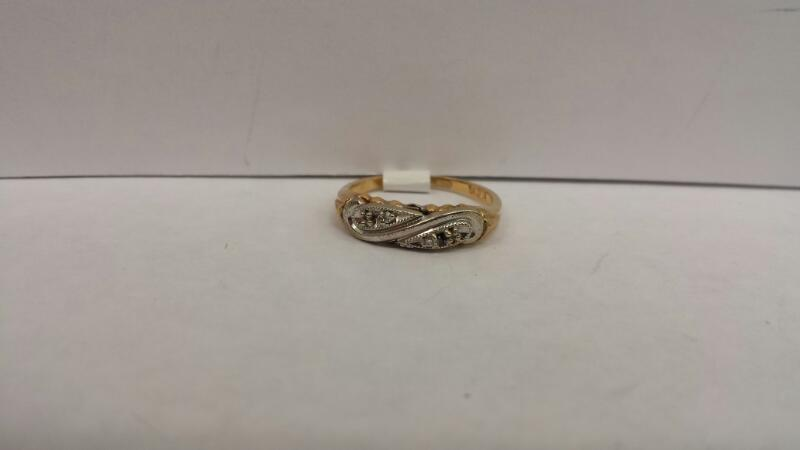 14k 2 Tone Ring with 4 Stones