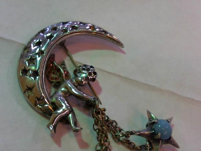 Blue Stone Silver-Stone Brooch 925 Silver 33.9g