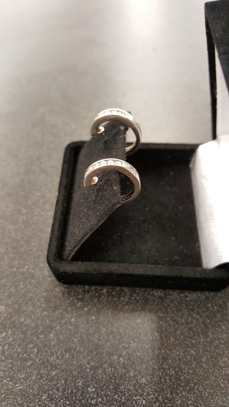 Gold-Diamond Earrings 12 Diamonds .24 Carat T.W. 14K White Gold 2.7g