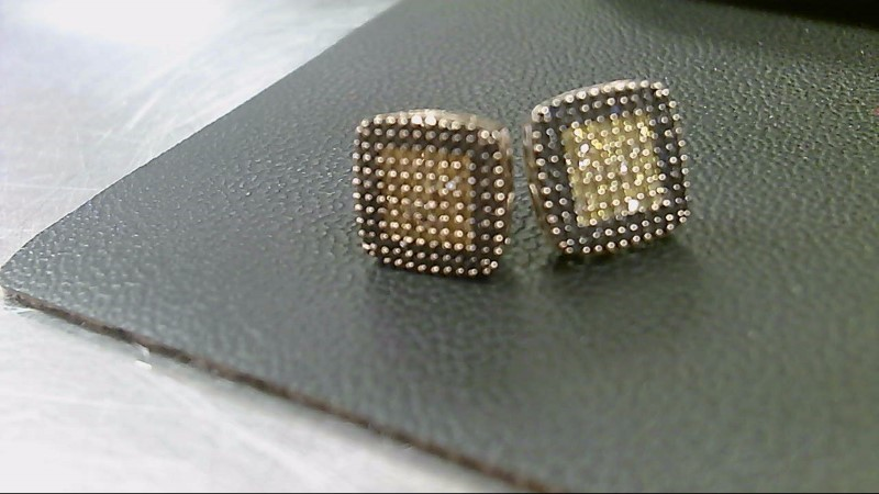 Gold-Diamond Earrings 200 Diamonds 2.00 Carat T.W. 10K Yellow Gold 3.2g