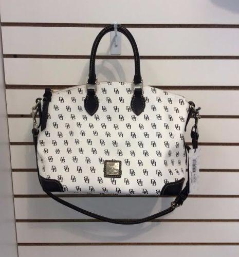 Dooney & Bourke Leather White Black Initial Shoulder Bag Purse Handbag NG968 4Y