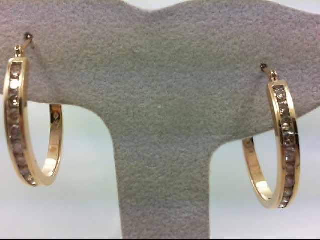 Gold-Diamond Earrings 24 Diamonds .72 Carat T.W. 14K Yellow Gold 5.7g