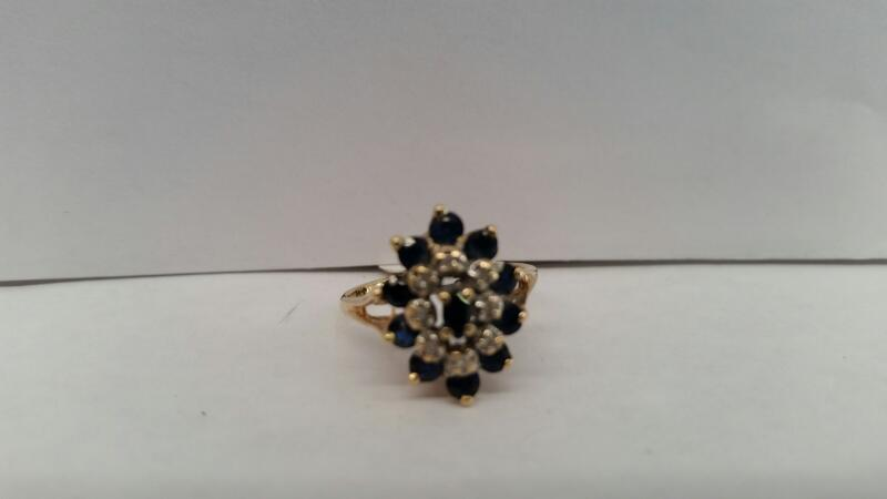 10k Yellow Gold Ring with 11 Blue Stones and 8 Diamond Chips